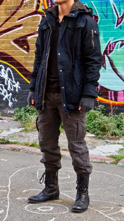 Veroz Is Wearing Navy Fishtail Parka By Spiewak Black
