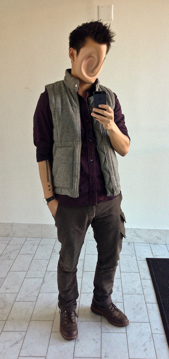 veroz is wearing gray gilet by outlier purple button up shirt by