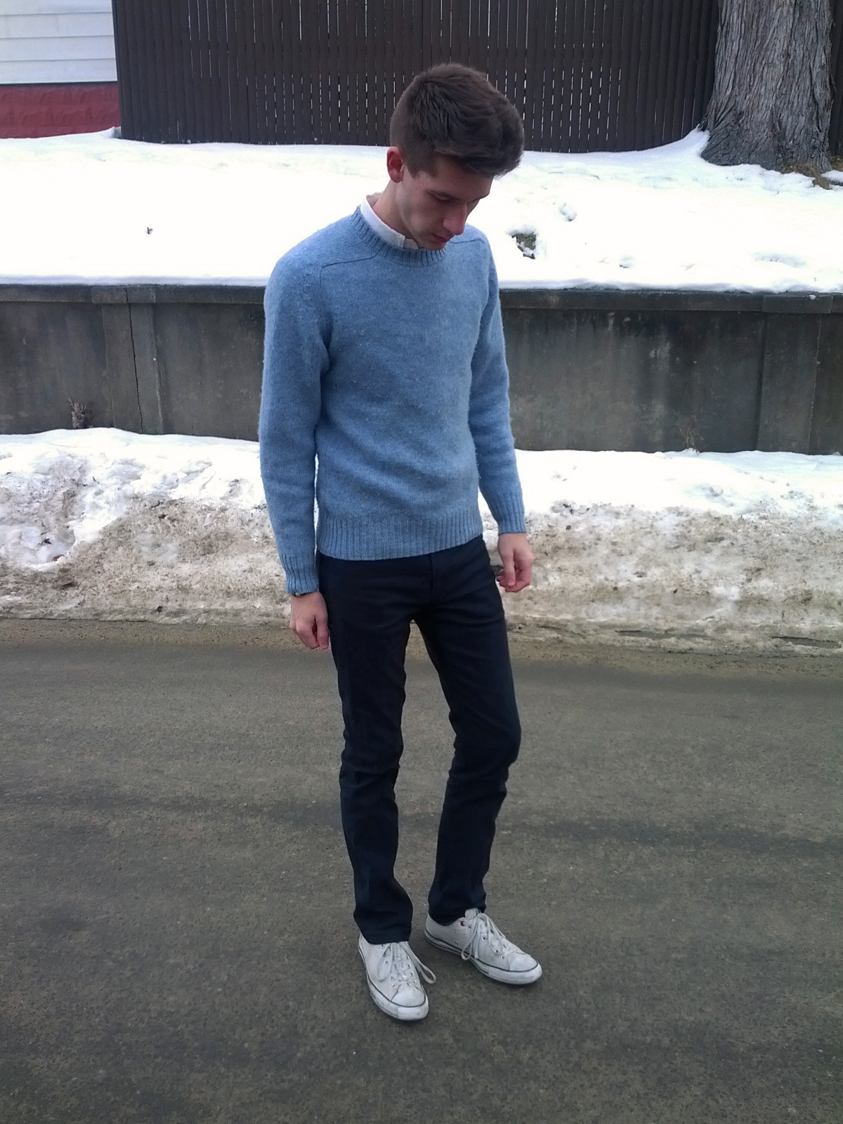jonrisk is wearing uniqlo ocbd thrifted ballymoor wool sweater