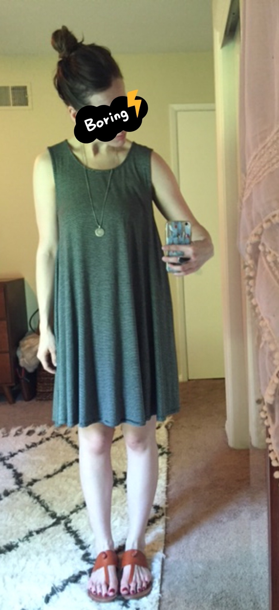 4c1ce42e834f tshirt_and_jeans is wearing: American Eagle swing dress (navy stripe ...